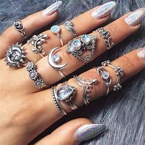 Jewelry - NEW 15 Piece Silver Boho Trendy Midi Ring Set
